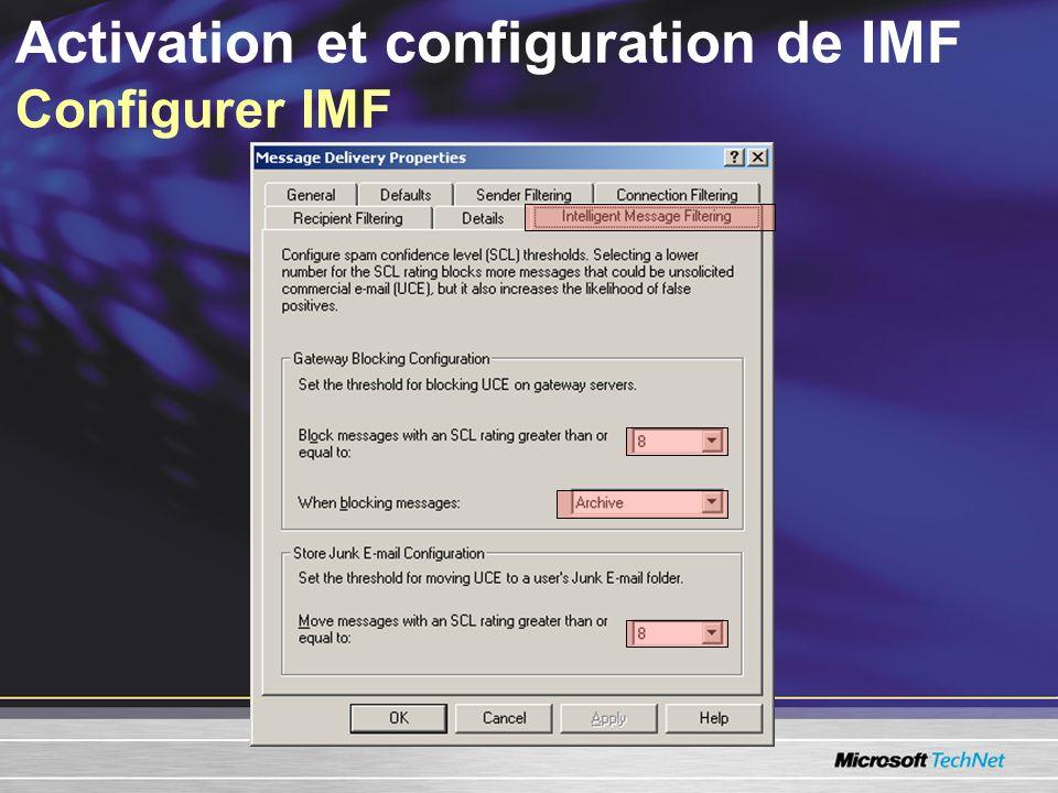 Activation et configuration de IMF Configurer IMF