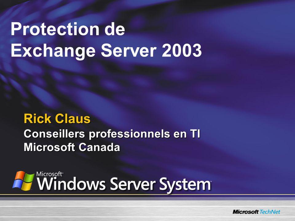 Objectifs de la présentation Présenter les notions et les mécanismes de protection de Exchange 2003.