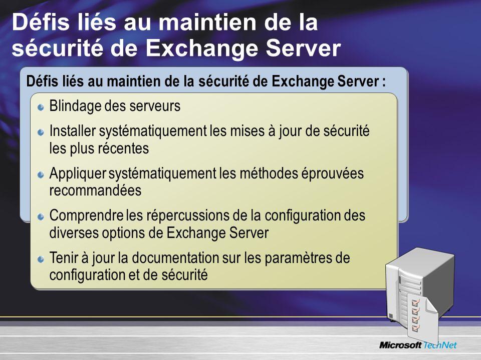 Défis liés au maintien de la sécurité de Exchange Server Défis liés au maintien de la sécurité de Exchange Server : Blindage des serveurs Installer sy