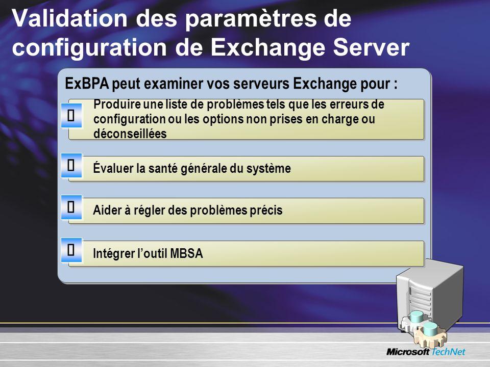 Validation des paramètres de configuration de Exchange Server ExBPA peut examiner vos serveurs Exchange pour : Produire une liste de problèmes tels qu