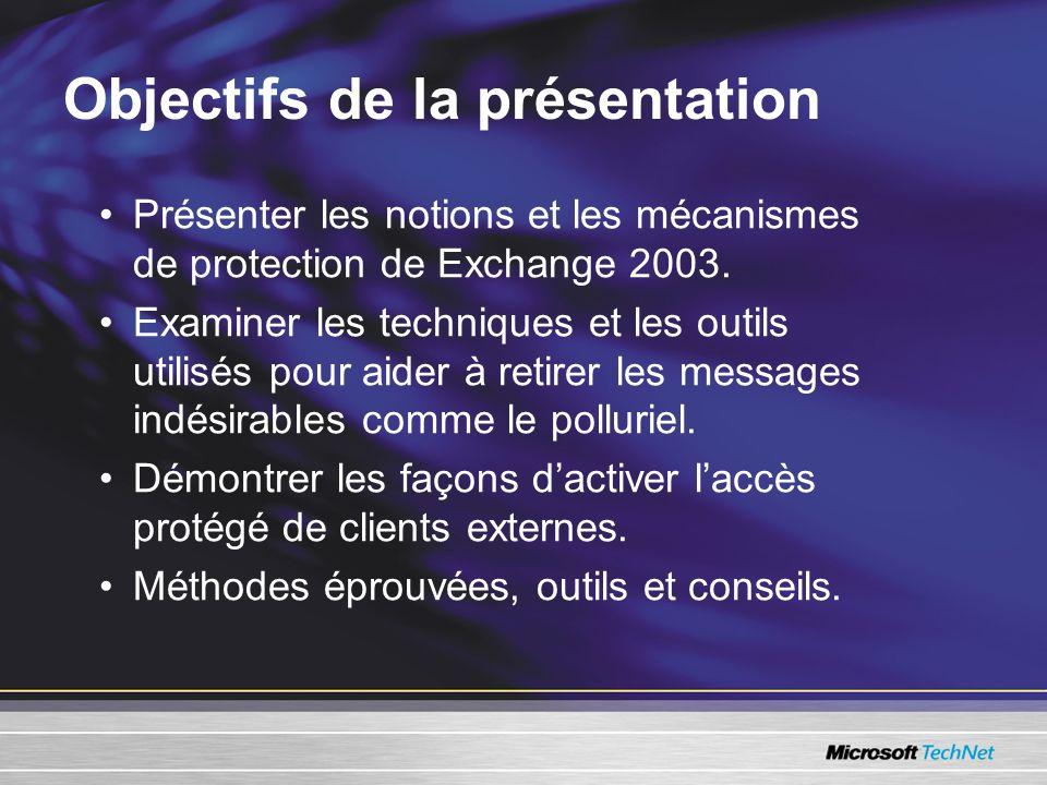 Objectifs de la présentation Présenter les notions et les mécanismes de protection de Exchange 2003. Examiner les techniques et les outils utilisés po