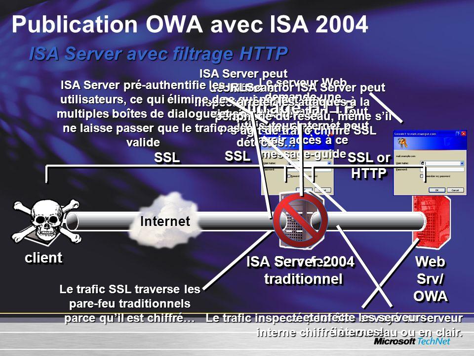 Le trafic inspecté peut être envoyé au serveur interne chiffré à nouveau ou en clair. ISA Server avec filtrage HTTP Le serveur Web demande une authent