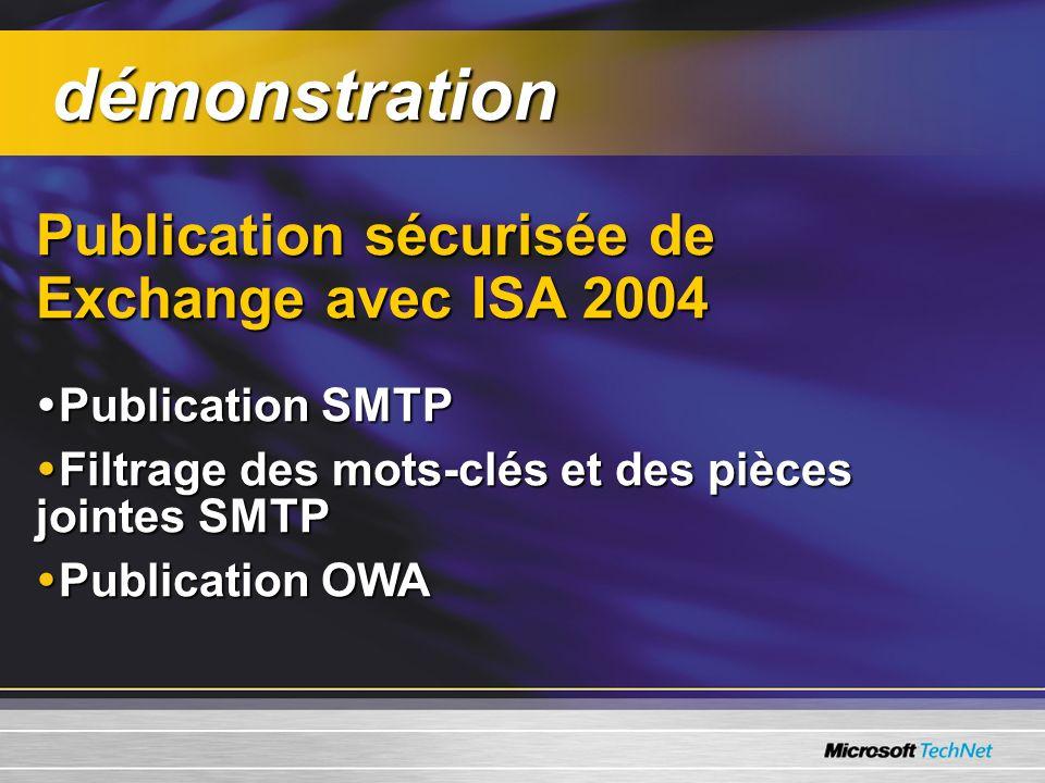 Publication sécurisée de Exchange avec ISA 2004 Publication SMTP Publication SMTP Filtrage des mots-clés et des pièces jointes SMTP Filtrage des mots-