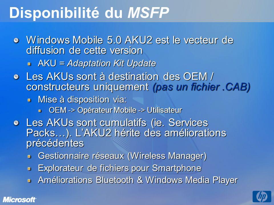 Disponibilité du MSFP Windows Mobile 5.0 AKU2 est le vecteur de diffusion de cette version AKU = Adaptation Kit Update Les AKUs sont à destination des