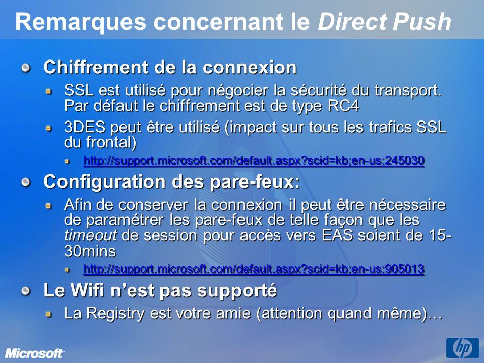 Remarques concernant le Direct Push Chiffrement de la connexion SSL est utilisé pour négocier la sécurité du transport. Par défaut le chiffrement est