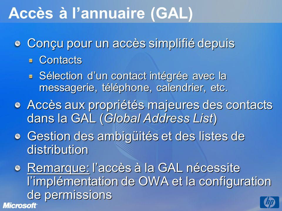 Accès à lannuaire (GAL) Conçu pour un accès simplifié depuis Contacts Sélection dun contact intégrée avec la messagerie, téléphone, calendrier, etc. A
