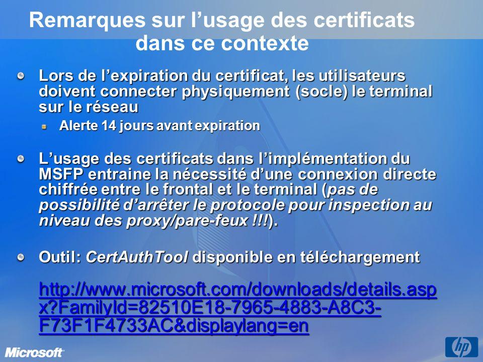 Remarques sur lusage des certificats dans ce contexte Lors de lexpiration du certificat, les utilisateurs doivent connecter physiquement (socle) le te