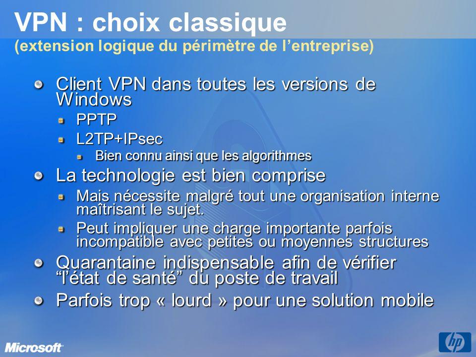 VPN : choix classique (extension logique du périmètre de lentreprise) Client VPN dans toutes les versions de Windows PPTPL2TP+IPsec Bien connu ainsi q