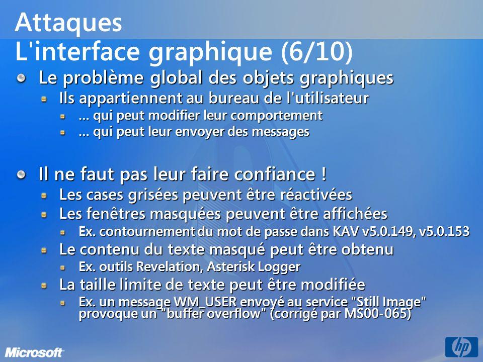 Attaques L'interface graphique (6/10) Le problème global des objets graphiques Ils appartiennent au bureau de l'utilisateur … qui peut modifier leur c
