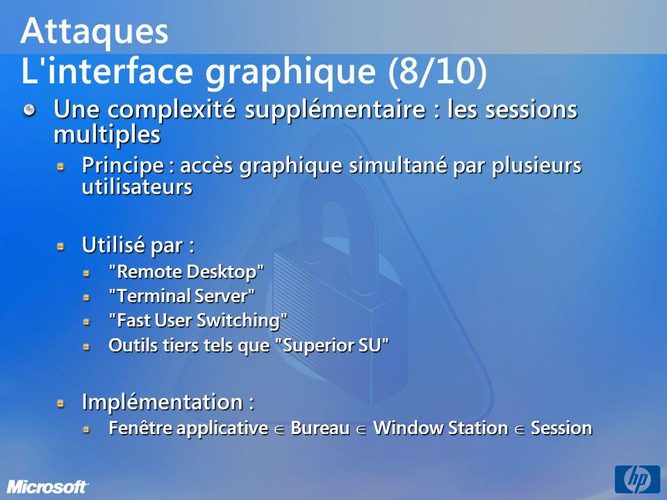Attaques L'interface graphique (8/10) Une complexité supplémentaire : les sessions multiples Principe : accès graphique simultané par plusieurs utilis