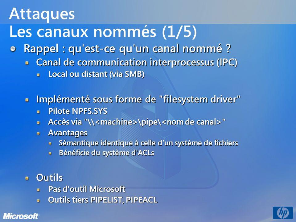 Attaques Les canaux nommés (1/5) Rappel : qu'est-ce qu'un canal nommé ? Canal de communication interprocessus (IPC) Local ou distant (via SMB) Impléme