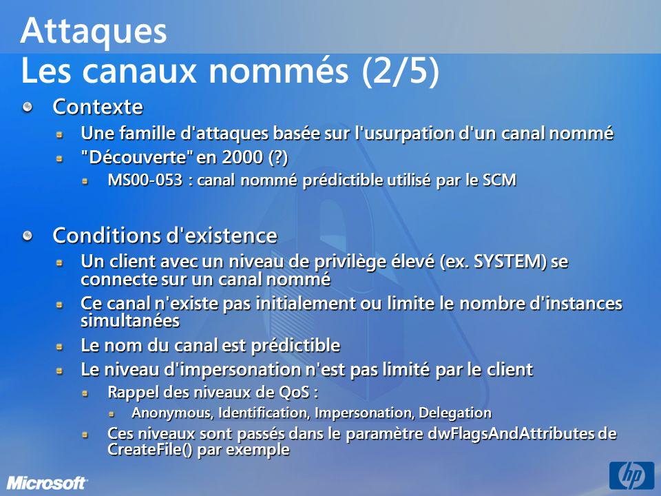 Attaques Les canaux nommés (2/5) Contexte Une famille d'attaques basée sur l'usurpation d'un canal nommé