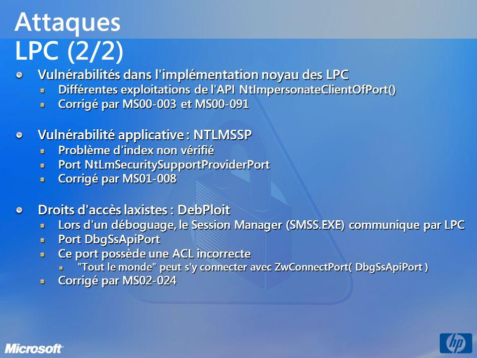 Attaques LPC (2/2) Vulnérabilités dans l'implémentation noyau des LPC Différentes exploitations de l'API NtImpersonateClientOfPort() Corrigé par MS00-