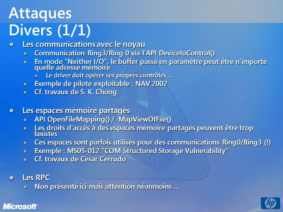 Attaques Divers (1/1) Les communications avec le noyau Communication Ring3/Ring 0 via l'API DeviceIoControl() En mode