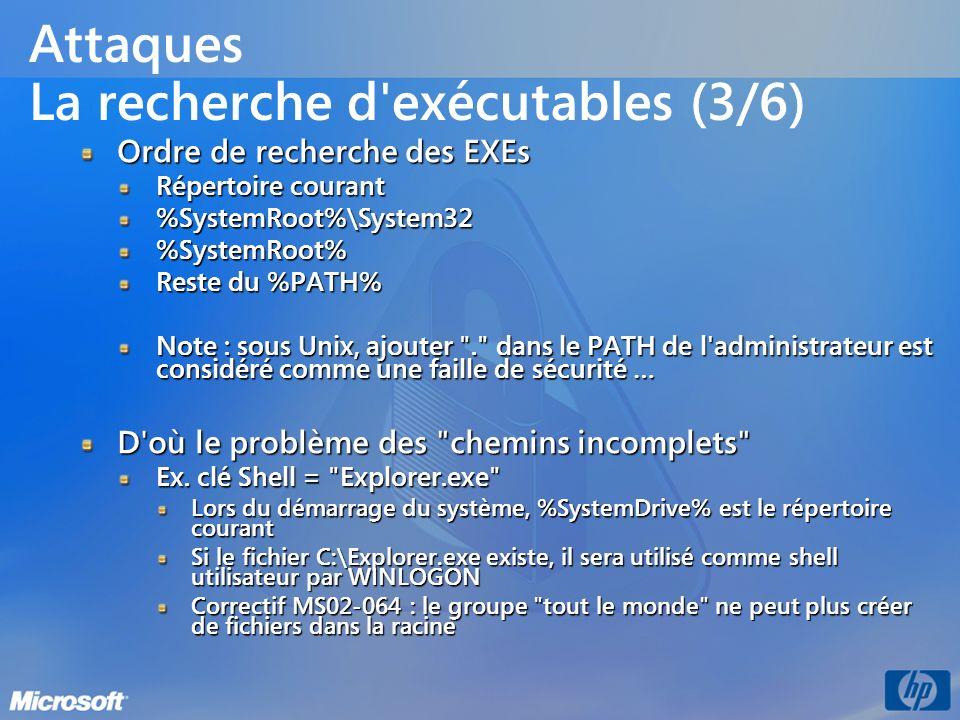 Attaques La recherche d'exécutables (3/6) Ordre de recherche des EXEs Répertoire courant %SystemRoot%\System32%SystemRoot% Reste du %PATH% Note : sous
