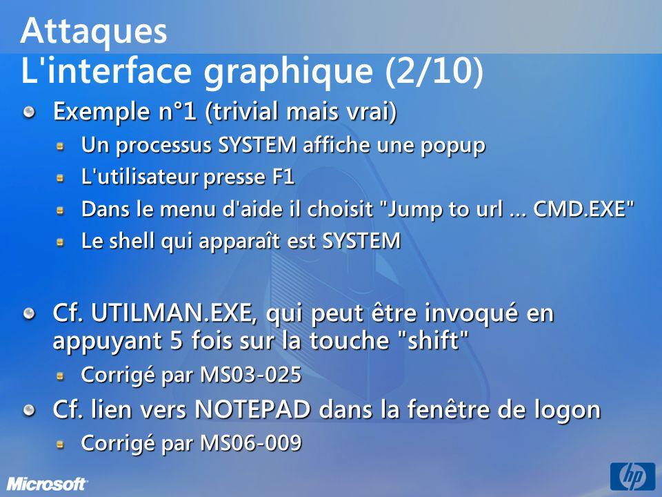Attaques L'interface graphique (2/10) Exemple n°1 (trivial mais vrai) Un processus SYSTEM affiche une popup L'utilisateur presse F1 Dans le menu d'aid