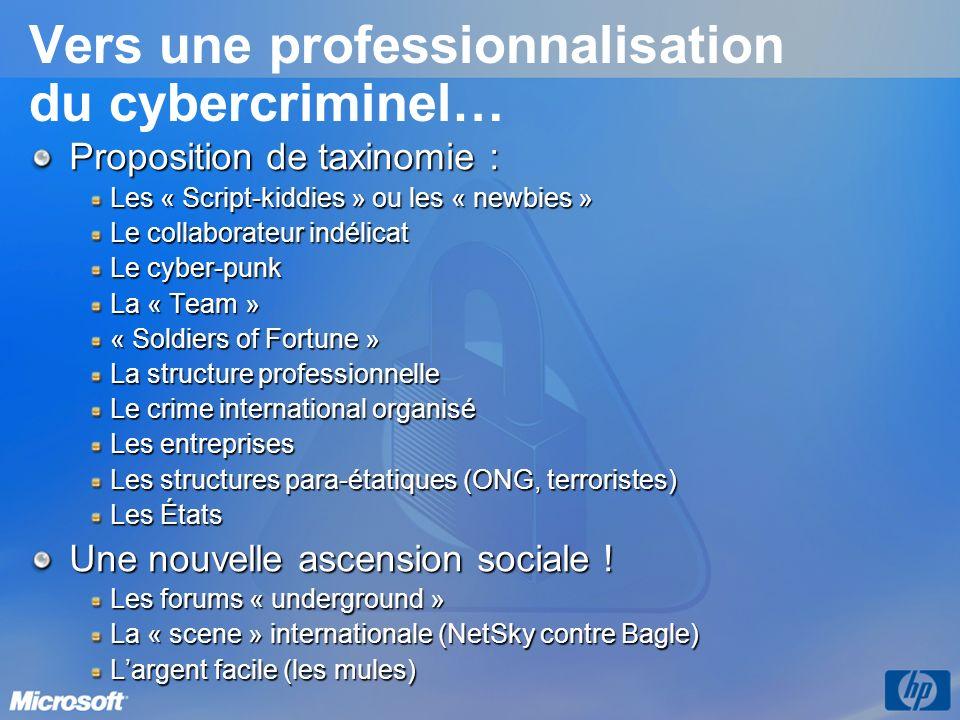 Vers une professionnalisation du cybercriminel… Proposition de taxinomie : Les « Script-kiddies » ou les « newbies » Le collaborateur indélicat Le cyb