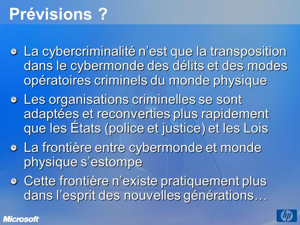 Prévisions ? La cybercriminalité nest que la transposition dans le cybermonde des délits et des modes opératoires criminels du monde physique Les orga