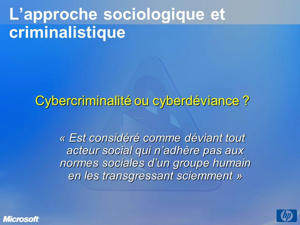 Lapproche sociologique et criminalistique Cybercriminalité ou cyberdéviance ? « Est considéré comme déviant tout acteur social qui nadhère pas aux nor