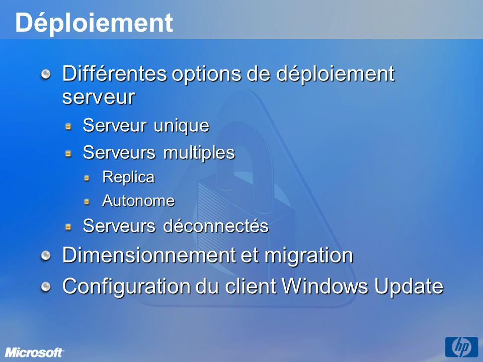Déploiement Différentes options de déploiement serveur Serveur unique Serveurs multiples ReplicaAutonome Serveurs déconnectés Dimensionnement et migra