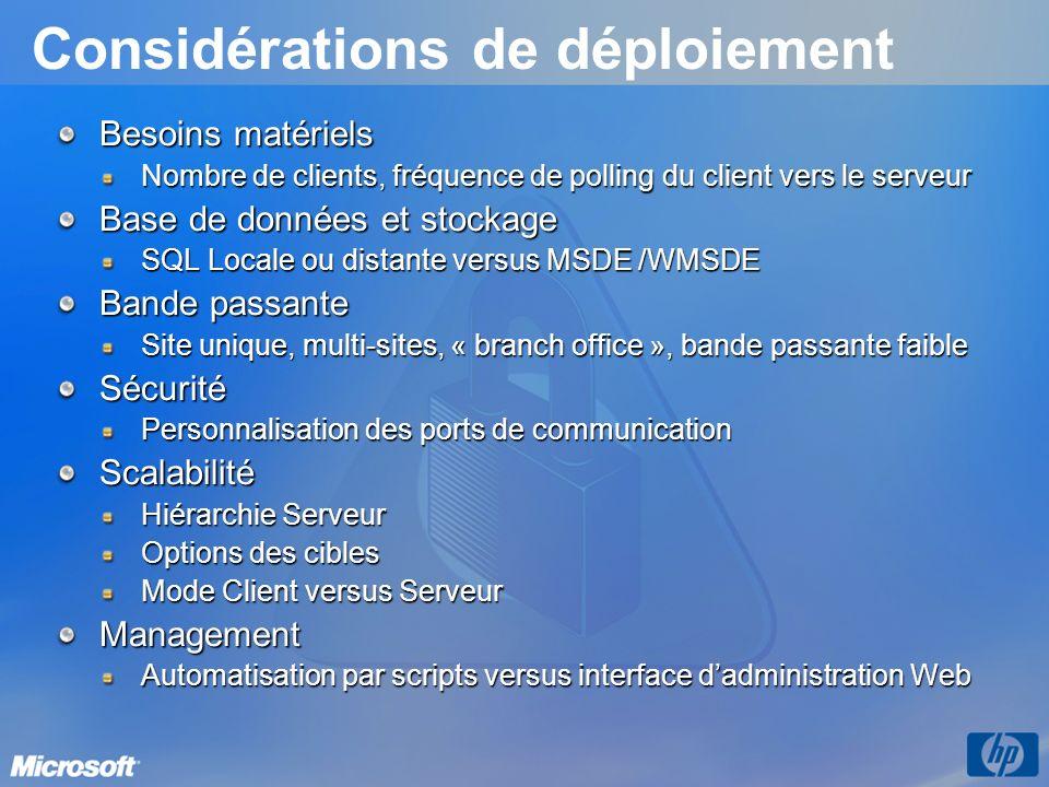Considérations de déploiement Besoins matériels Nombre de clients, fréquence de polling du client vers le serveur Base de données et stockage SQL Loca