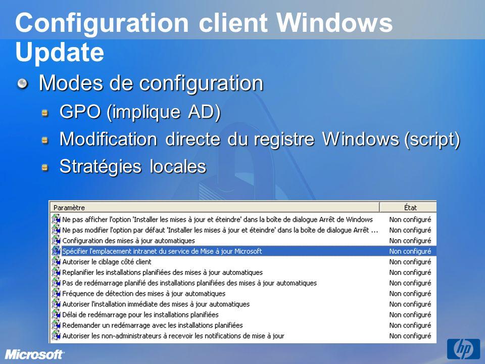 Configuration client Windows Update Modes de configuration GPO (implique AD) Modification directe du registre Windows (script) Stratégies locales