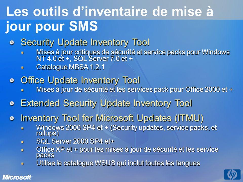 Les outils dinventaire de mise à jour pour SMS Security Update Inventory Tool Mises à jour critiques de sécurité et service packs pour Windows NT 4.0