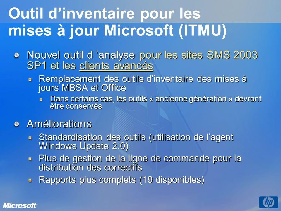 Outil dinventaire pour les mises à jour Microsoft (ITMU) Nouvel outil d analyse pour les sites SMS 2003 SP1 et les clients avancés Remplacement des ou