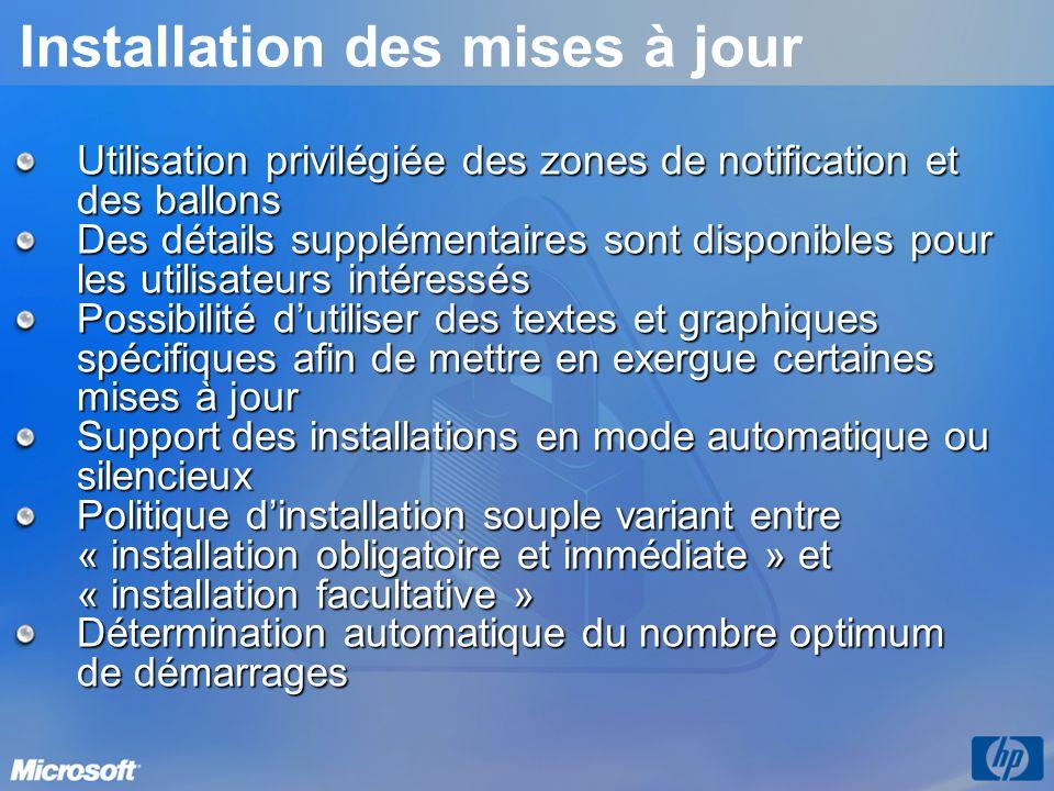 Utilisation privilégiée des zones de notification et des ballons Des détails supplémentaires sont disponibles pour les utilisateurs intéressés Possibi