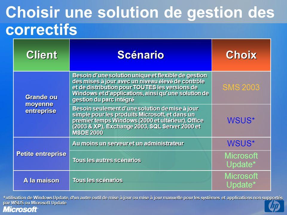 *utilisation de Windows Update, d'un autre outil de mise à jour ou mise à jour manuelle pour les systèmes et applications non supportés par WSUS ou Mi