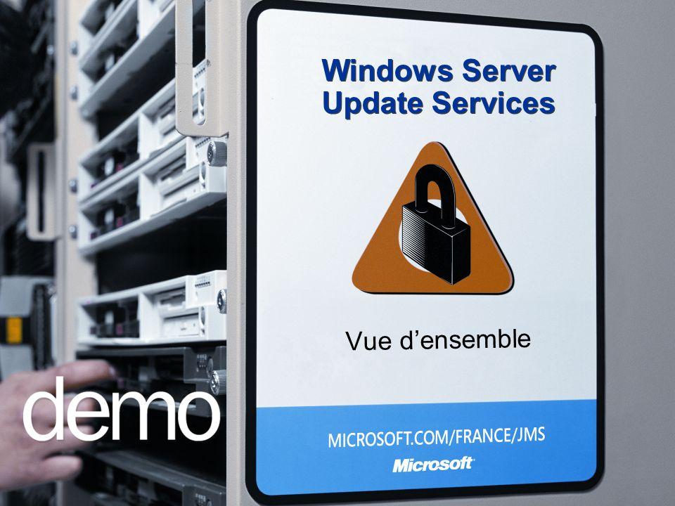 Implémentation Contenu Windows, Office, SQL, Exchange à lorigine (disponibilité du produit) Des produits additionnels sy ajoutent : Small Business Server 2003, DPM, Windows Defender, ISA… Plate-formes (Système dexploitation) Client/agent Windows 2000 SP3 et ult., Windows XP RTM et ult.