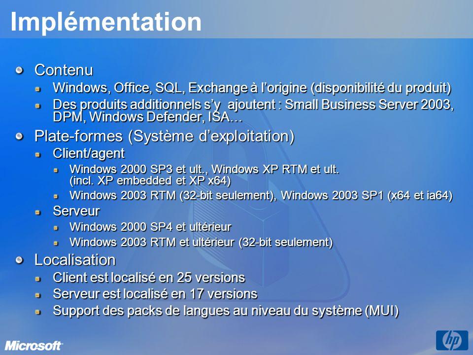 Outil dinventaire pour les mises à jour Microsoft (ITMU) Nouvel outil d analyse pour les sites SMS 2003 SP1 et les clients avancés Remplacement des outils dinventaire des mises à jours MBSA et Office Dans certains cas, les outils « ancienne génération » devront être conservés Améliorations Standardisation des outils (utilisation de lagent Windows Update 2.0) Plus de gestion de la ligne de commande pour la distribution des correctifs Rapports plus complets (19 disponibles)