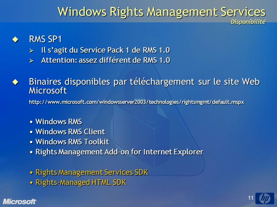 11 Windows Rights Management Services Disponibilité RMS SP1 RMS SP1 Il sagit du Service Pack 1 de RMS 1.0 Il sagit du Service Pack 1 de RMS 1.0 Attention: assez différent de RMS 1.0 Attention: assez différent de RMS 1.0 Binaires disponibles par téléchargement sur le site Web Microsoft Binaires disponibles par téléchargement sur le site Web Microsofthttp://www.microsoft.com/windowsserver2003/technologies/rightsmgmt/default.mspx Windows RMS Windows RMS Windows RMS Client Windows RMS Client Windows RMS Toolkit Windows RMS Toolkit Rights Management Add-on for Internet Explorer Rights Management Add-on for Internet Explorer Rights Management Services SDK Rights Management Services SDK Rights-Managed HTML SDK Rights-Managed HTML SDK