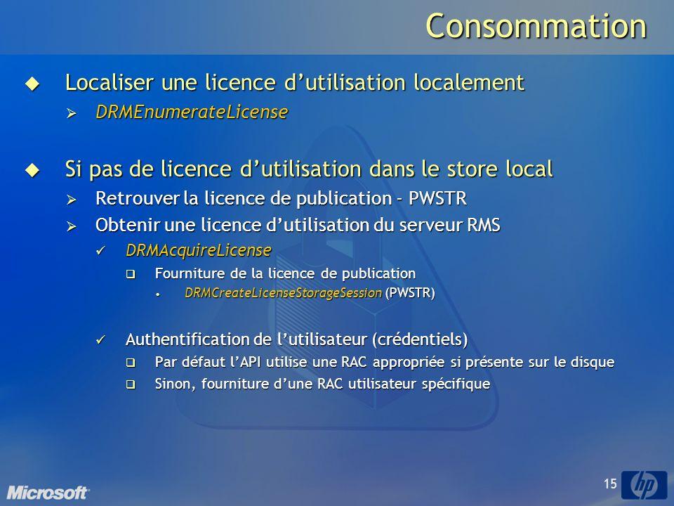 15Consommation Localiser une licence dutilisation localement Localiser une licence dutilisation localement DRMEnumerateLicense DRMEnumerateLicense Si pas de licence dutilisation dans le store local Si pas de licence dutilisation dans le store local Retrouver la licence de publication - PWSTR Retrouver la licence de publication - PWSTR Obtenir une licence dutilisation du serveur RMS Obtenir une licence dutilisation du serveur RMS DRMAcquireLicense DRMAcquireLicense Fourniture de la licence de publication Fourniture de la licence de publication DRMCreateLicenseStorageSession (PWSTR) DRMCreateLicenseStorageSession (PWSTR) Authentification de lutilisateur (crédentiels) Authentification de lutilisateur (crédentiels) Par défaut lAPI utilise une RAC appropriée si présente sur le disque Par défaut lAPI utilise une RAC appropriée si présente sur le disque Sinon, fourniture dune RAC utilisateur spécifique Sinon, fourniture dune RAC utilisateur spécifique