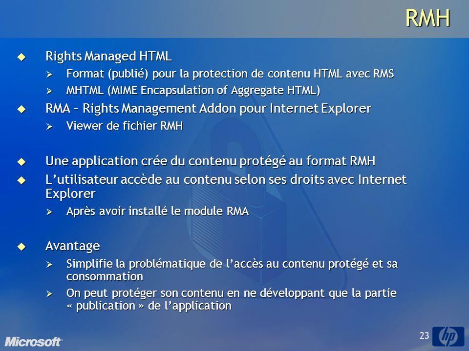 23RMH Rights Managed HTML Rights Managed HTML Format (publié) pour la protection de contenu HTML avec RMS Format (publié) pour la protection de contenu HTML avec RMS MHTML (MIME Encapsulation of Aggregate HTML) MHTML (MIME Encapsulation of Aggregate HTML) RMA – Rights Management Addon pour Internet Explorer RMA – Rights Management Addon pour Internet Explorer Viewer de fichier RMH Viewer de fichier RMH Une application crée du contenu protégé au format RMH Une application crée du contenu protégé au format RMH Lutilisateur accède au contenu selon ses droits avec Internet Explorer Lutilisateur accède au contenu selon ses droits avec Internet Explorer Après avoir installé le module RMA Après avoir installé le module RMA Avantage Avantage Simplifie la problématique de laccès au contenu protégé et sa consommation Simplifie la problématique de laccès au contenu protégé et sa consommation On peut protéger son contenu en ne développant que la partie « publication » de lapplication On peut protéger son contenu en ne développant que la partie « publication » de lapplication