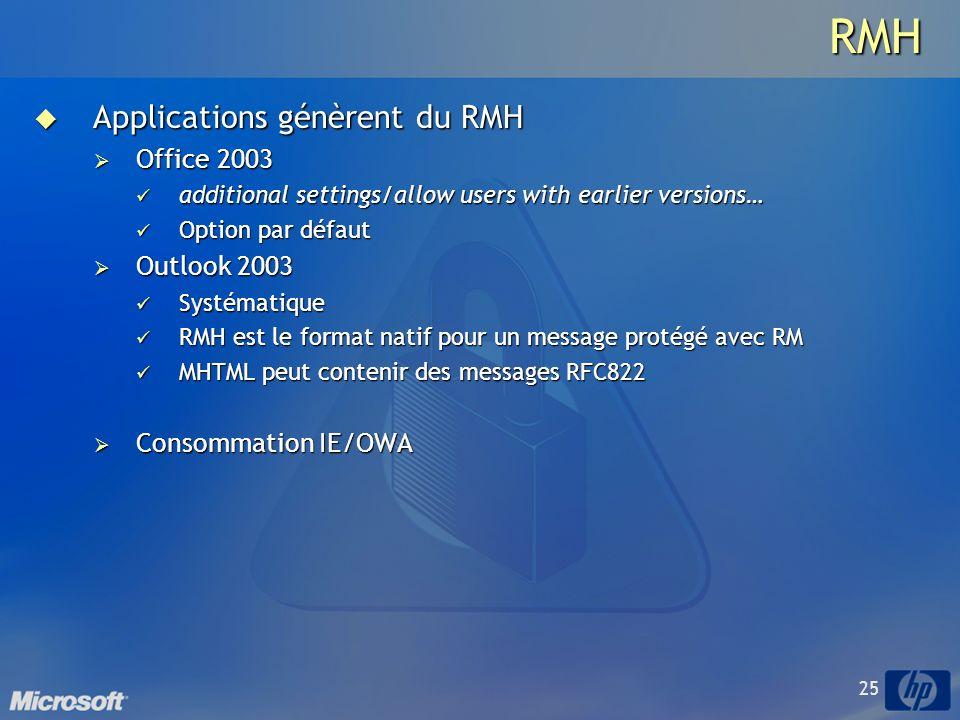 25RMH Applications génèrent du RMH Applications génèrent du RMH Office 2003 Office 2003 additional settings/allow users with earlier versions… additional settings/allow users with earlier versions… Option par défaut Option par défaut Outlook 2003 Outlook 2003 Systématique Systématique RMH est le format natif pour un message protégé avec RM RMH est le format natif pour un message protégé avec RM MHTML peut contenir des messages RFC822 MHTML peut contenir des messages RFC822 Consommation IE/OWA Consommation IE/OWA