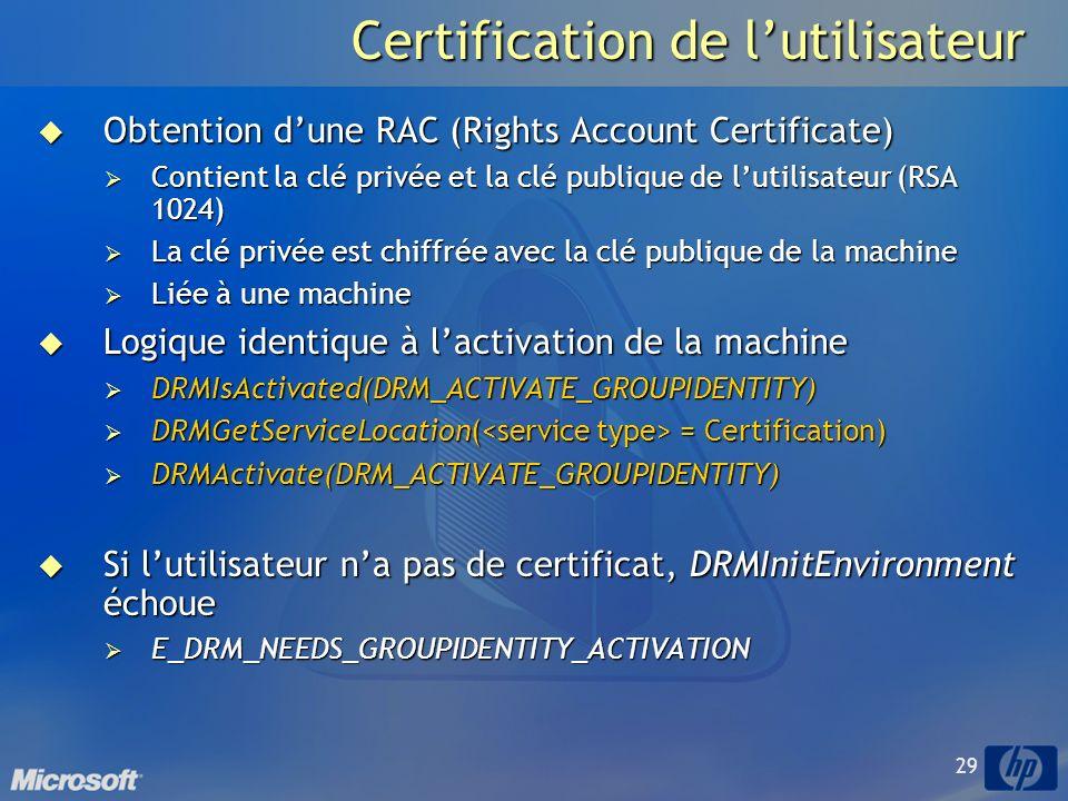 29 Certification de lutilisateur Obtention dune RAC (Rights Account Certificate) Obtention dune RAC (Rights Account Certificate) Contient la clé privée et la clé publique de lutilisateur (RSA 1024) Contient la clé privée et la clé publique de lutilisateur (RSA 1024) La clé privée est chiffrée avec la clé publique de la machine La clé privée est chiffrée avec la clé publique de la machine Liée à une machine Liée à une machine Logique identique à lactivation de la machine Logique identique à lactivation de la machine DRMIsActivated(DRM_ACTIVATE_GROUPIDENTITY) DRMIsActivated(DRM_ACTIVATE_GROUPIDENTITY) DRMGetServiceLocation( = Certification) DRMGetServiceLocation( = Certification) DRMActivate(DRM_ACTIVATE_GROUPIDENTITY) DRMActivate(DRM_ACTIVATE_GROUPIDENTITY) Si lutilisateur na pas de certificat, DRMInitEnvironment échoue Si lutilisateur na pas de certificat, DRMInitEnvironment échoue E_DRM_NEEDS_GROUPIDENTITY_ACTIVATION E_DRM_NEEDS_GROUPIDENTITY_ACTIVATION