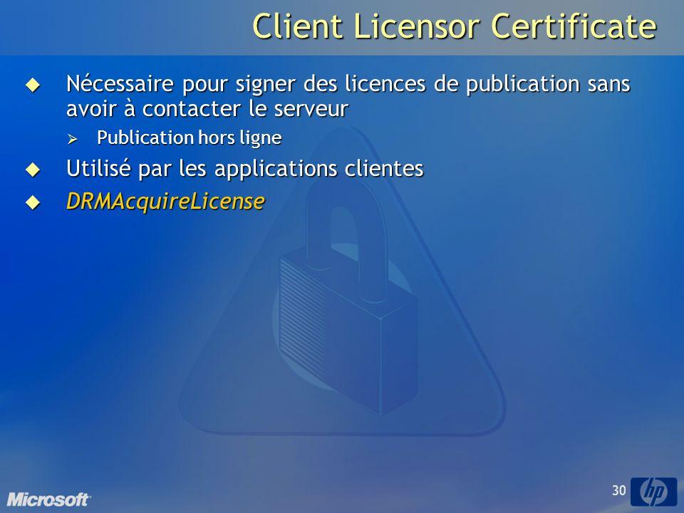 30 Client Licensor Certificate Nécessaire pour signer des licences de publication sans avoir à contacter le serveur Nécessaire pour signer des licences de publication sans avoir à contacter le serveur Publication hors ligne Publication hors ligne Utilisé par les applications clientes Utilisé par les applications clientes DRMAcquireLicense DRMAcquireLicense