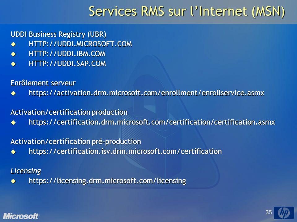 35 Services RMS sur lInternet (MSN) UDDI Business Registry (UBR) HTTP://UDDI.MICROSOFT.COM HTTP://UDDI.MICROSOFT.COM HTTP://UDDI.IBM.COM HTTP://UDDI.IBM.COM HTTP://UDDI.SAP.COM HTTP://UDDI.SAP.COM Enrôlement serveur https://activation.drm.microsoft.com/enrollment/enrollservice.asmx https://activation.drm.microsoft.com/enrollment/enrollservice.asmx Activation/certification production https://certification.drm.microsoft.com/certification/certification.asmx https://certification.drm.microsoft.com/certification/certification.asmx Activation/certification pré-production https://certification.isv.drm.microsoft.com/certification https://certification.isv.drm.microsoft.com/certificationLicensing https://licensing.drm.microsoft.com/licensing https://licensing.drm.microsoft.com/licensing