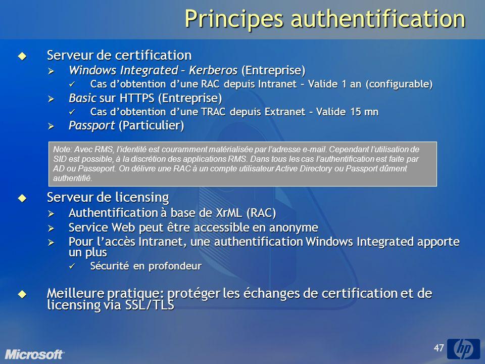47 Principes authentification Serveur de certification Serveur de certification Windows Integrated – Kerberos (Entreprise) Windows Integrated – Kerberos (Entreprise) Cas dobtention dune RAC depuis Intranet – Valide 1 an (configurable) Cas dobtention dune RAC depuis Intranet – Valide 1 an (configurable) Basic sur HTTPS (Entreprise) Basic sur HTTPS (Entreprise) Cas dobtention dune TRAC depuis Extranet – Valide 15 mn Cas dobtention dune TRAC depuis Extranet – Valide 15 mn Passport (Particulier) Passport (Particulier) Serveur de licensing Serveur de licensing Authentification à base de XrML (RAC) Authentification à base de XrML (RAC) Service Web peut être accessible en anonyme Service Web peut être accessible en anonyme Pour laccès Intranet, une authentification Windows Integrated apporte un plus Pour laccès Intranet, une authentification Windows Integrated apporte un plus Sécurité en profondeur Sécurité en profondeur Meilleure pratique: protéger les échanges de certification et de licensing via SSL/TLS Meilleure pratique: protéger les échanges de certification et de licensing via SSL/TLS Note: Avec RMS, lidentité est couramment matérialisée par ladresse e-mail.