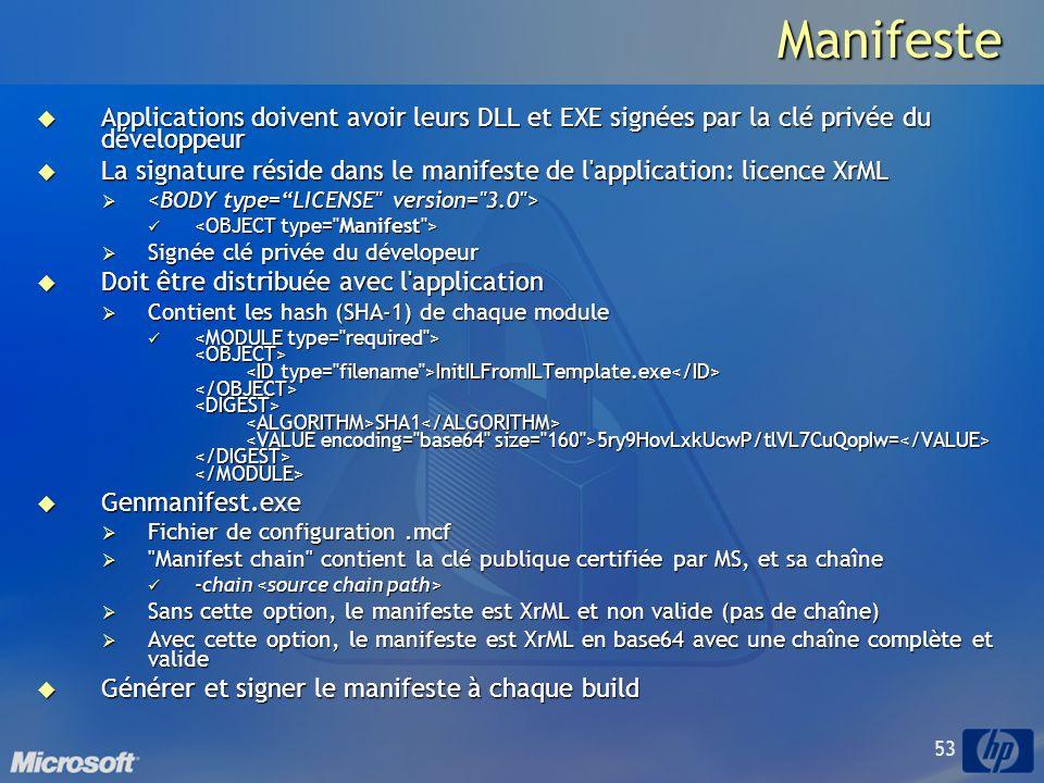 53Manifeste Applications doivent avoir leurs DLL et EXE signées par la clé privée du développeur Applications doivent avoir leurs DLL et EXE signées par la clé privée du développeur La signature réside dans le manifeste de l application: licence XrML La signature réside dans le manifeste de l application: licence XrML Signée clé privée du dévelopeur Signée clé privée du dévelopeur Doit être distribuée avec l application Doit être distribuée avec l application Contient les hash (SHA-1) de chaque module Contient les hash (SHA-1) de chaque module InitILFromILTemplate.exe SHA1 5ry9HovLxkUcwP/tlVL7CuQopIw= InitILFromILTemplate.exe SHA1 5ry9HovLxkUcwP/tlVL7CuQopIw= Genmanifest.exe Genmanifest.exe Fichier de configuration.mcf Fichier de configuration.mcf Manifest chain contient la clé publique certifiée par MS, et sa chaîne Manifest chain contient la clé publique certifiée par MS, et sa chaîne -chain -chain Sans cette option, le manifeste est XrML et non valide (pas de chaîne) Sans cette option, le manifeste est XrML et non valide (pas de chaîne) Avec cette option, le manifeste est XrML en base64 avec une chaîne complète et valide Avec cette option, le manifeste est XrML en base64 avec une chaîne complète et valide Générer et signer le manifeste à chaque build Générer et signer le manifeste à chaque build