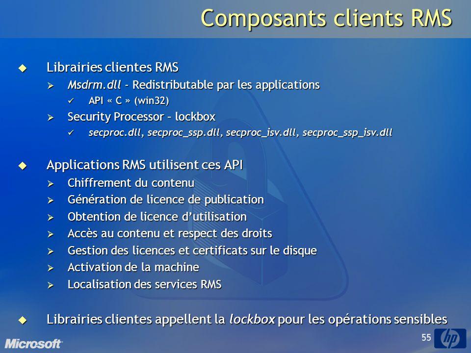 55 Composants clients RMS Librairies clientes RMS Librairies clientes RMS Msdrm.dll - Redistributable par les applications Msdrm.dll - Redistributable par les applications API « C » (win32) API « C » (win32) Security Processor – lockbox Security Processor – lockbox secproc.dll, secproc_ssp.dll, secproc_isv.dll, secproc_ssp_isv.dll secproc.dll, secproc_ssp.dll, secproc_isv.dll, secproc_ssp_isv.dll Applications RMS utilisent ces API Applications RMS utilisent ces API Chiffrement du contenu Chiffrement du contenu Génération de licence de publication Génération de licence de publication Obtention de licence dutilisation Obtention de licence dutilisation Accès au contenu et respect des droits Accès au contenu et respect des droits Gestion des licences et certificats sur le disque Gestion des licences et certificats sur le disque Activation de la machine Activation de la machine Localisation des services RMS Localisation des services RMS Librairies clientes appellent la lockbox pour les opérations sensibles Librairies clientes appellent la lockbox pour les opérations sensibles