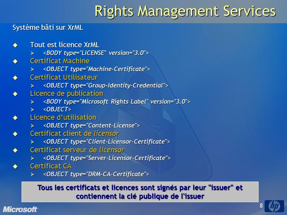 8 Rights Management Services Système bâti sur XrML Tout est licence XrML Tout est licence XrML Certificat Machine Certificat Machine Certificat Utilisateur Certificat Utilisateur Licence de publication Licence de publication Licence dutilisation Licence dutilisation Certificat client de licensor Certificat client de licensor Certificat serveur de licensor Certificat serveur de licensor Certificat CA Certificat CA Tous les certificats et licences sont signés par leur issuer et contiennent la clé publique de l issuer