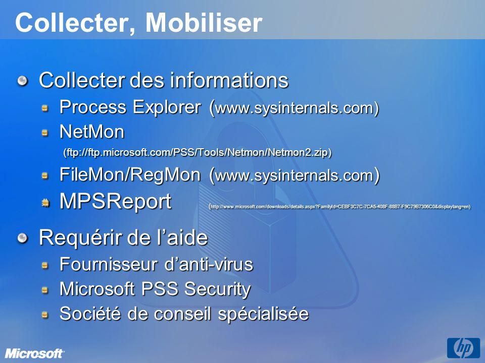 Collecter, Mobiliser Collecter des informations Process Explorer( www.sysinternals.com) NetMon (ftp://ftp.microsoft.com/PSS/Tools/Netmon/Netmon2.zip) FileMon/RegMon( www.sysinternals.com ) MPSReport ( http://www.microsoft.com/downloads/details.aspx FamilyId=CEBF3C7C-7CA5-408F-88B7-F9C79B7306C0&displaylang=en) Requérir de laide Fournisseur danti-virus Microsoft PSS Security Société de conseil spécialisée