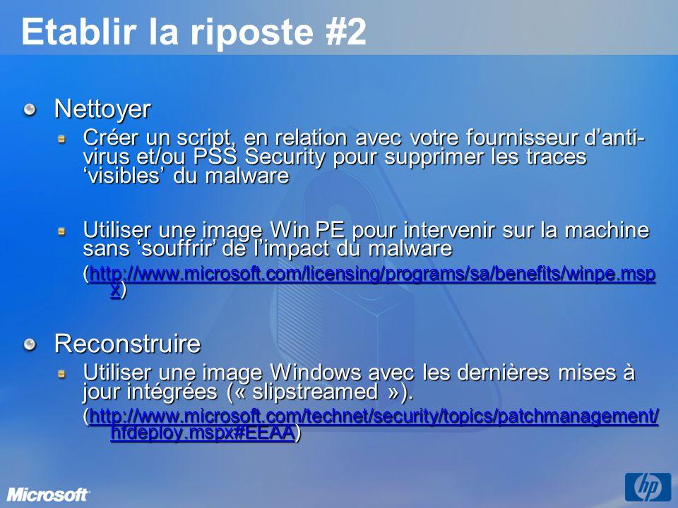 Etablir la riposte #2 Nettoyer Créer un script, en relation avec votre fournisseur danti- virus et/ou PSS Security pour supprimer les traces visibles du malware Utiliser une image Win PE pour intervenir sur la machine sans souffrir de limpact du malware (http://www.microsoft.com/licensing/programs/sa/benefits/winpe.msp x) http://www.microsoft.com/licensing/programs/sa/benefits/winpe.msp xhttp://www.microsoft.com/licensing/programs/sa/benefits/winpe.msp xReconstruire Utiliser une image Windows avec les dernières mises à jour intégrées (« slipstreamed »).