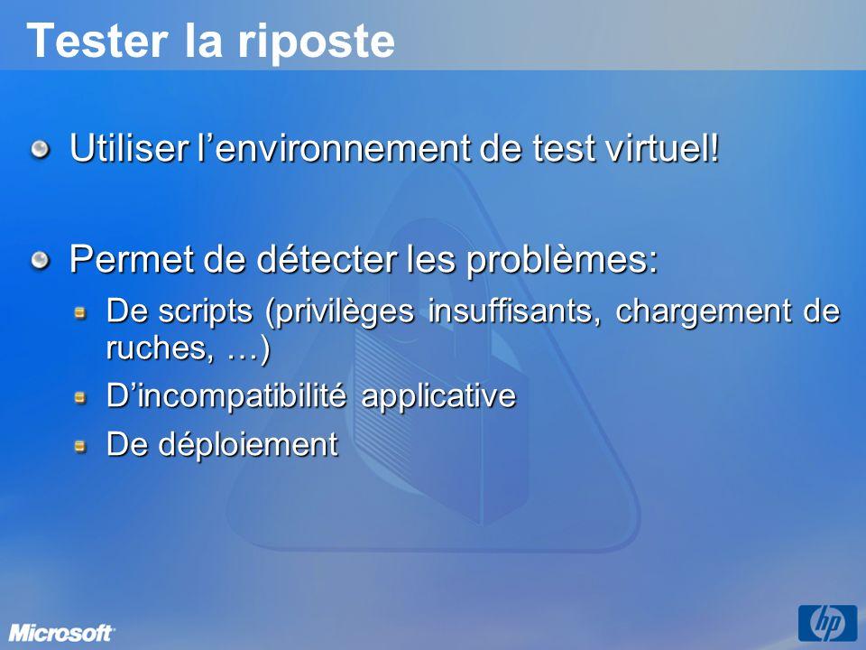 Tester la riposte Utiliser lenvironnement de test virtuel! Permet de détecter les problèmes: De scripts (privilèges insuffisants, chargement de ruches