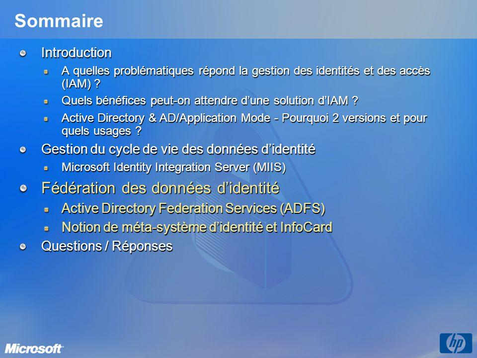 Active Directory Federation Services (ADFS) Composant de Windows Server 2003 R2 Nest pas le nouveau nom de Microsoft Passport, un nouveau référentiel didentités, un nouveau type de relation dapprobation ou de forêt Ne nécessite pas une extension du schéma Active Directory Sappuie sur un certain nombre de composants de loffre Microsoft AD et AD/AM en temps que référentiel(s) utilisateur ASP.Net 2.0 Certificate Services (optionnel) Authorization Manager (optionnel) Objectifs Permettre la mise en place de solutions de Web SSO ainsi quune gestion simplifiée des identités Etendre linfrastructure Active Directory au-delà de la forêt Permettre aux clients, partenaires, fournisseurs, collaborateurs un accès sécurisé et contrôlé aux applications web situées hors de leur forêt Active Directory Projeter lidentité utilisateur sur la base dune première ouverture de session Fournir des mécanismes dauthentification et dautorisation distribués