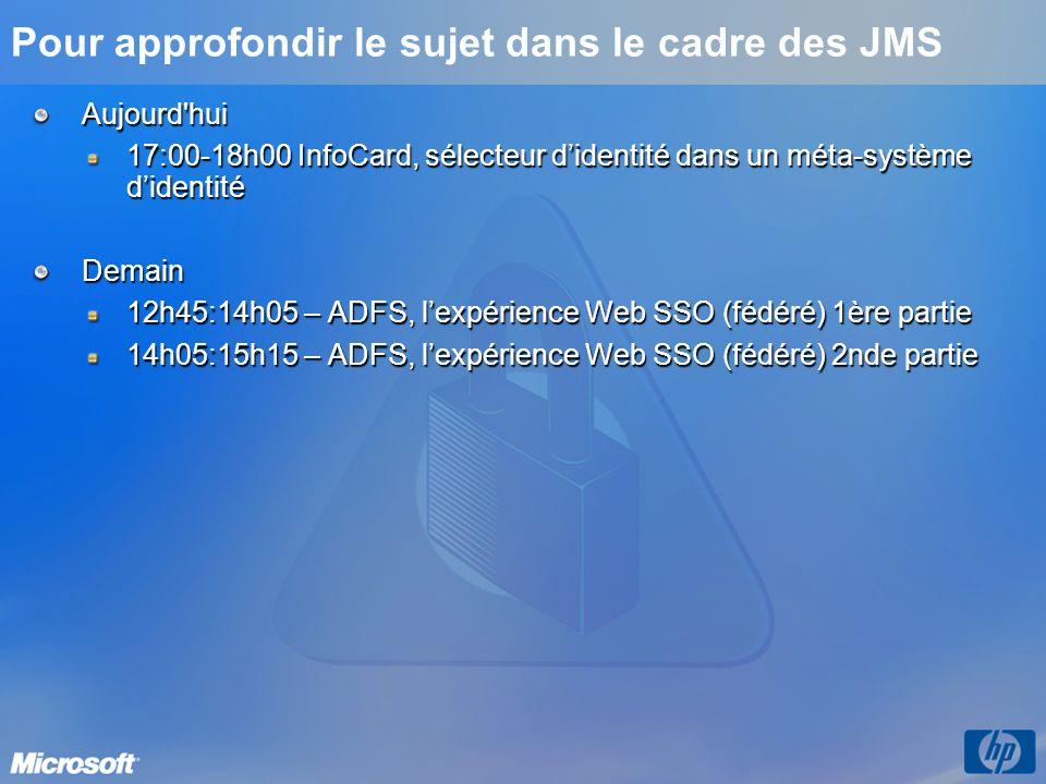 Pour plus dinformations Site MIIS Microsoft France http://www.microsoft.com/france/miis « The Laws of Identity » http://msdn.microsoft.com/library/en-us/dnwebsrv/html/lawsofidentity.asp « Microsoft s Vision for an Identity Metasystem » http://msdn.microsoft.com/library/en- us/dnwebsrv/html/identitymetasystem.asp http://msdn.microsoft.com/library/en- us/dnwebsrv/html/identitymetasystem.asp Interview Channel 9 de Kim Cameron http://channel9.msdn.com/showpost.aspx?postid=85004#85004 Rejoignez les discussions sur http://www.identityblog.com Rejoignez les discussions sur http://www.identityblog.comhttp://www.identityblog.com