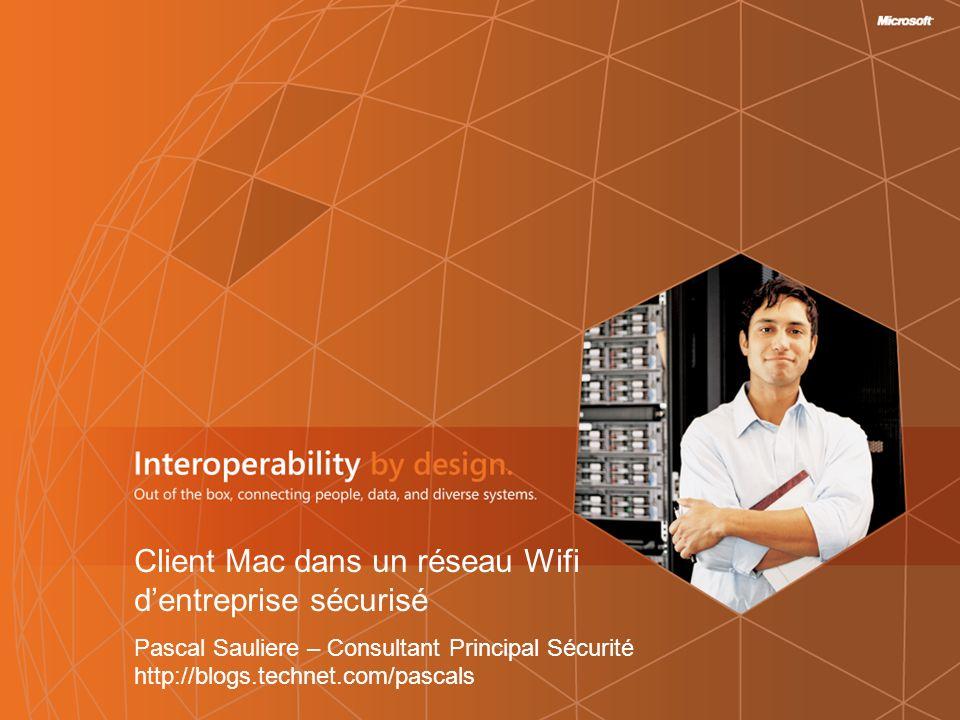 2   Sommaire Sécurité Wi-fi dentreprise Architecture type Protocoles mis en jeu Composants Windows mis en jeu Démonstration : intégration dun client Mac Requête et récupération dun certificat Authentification