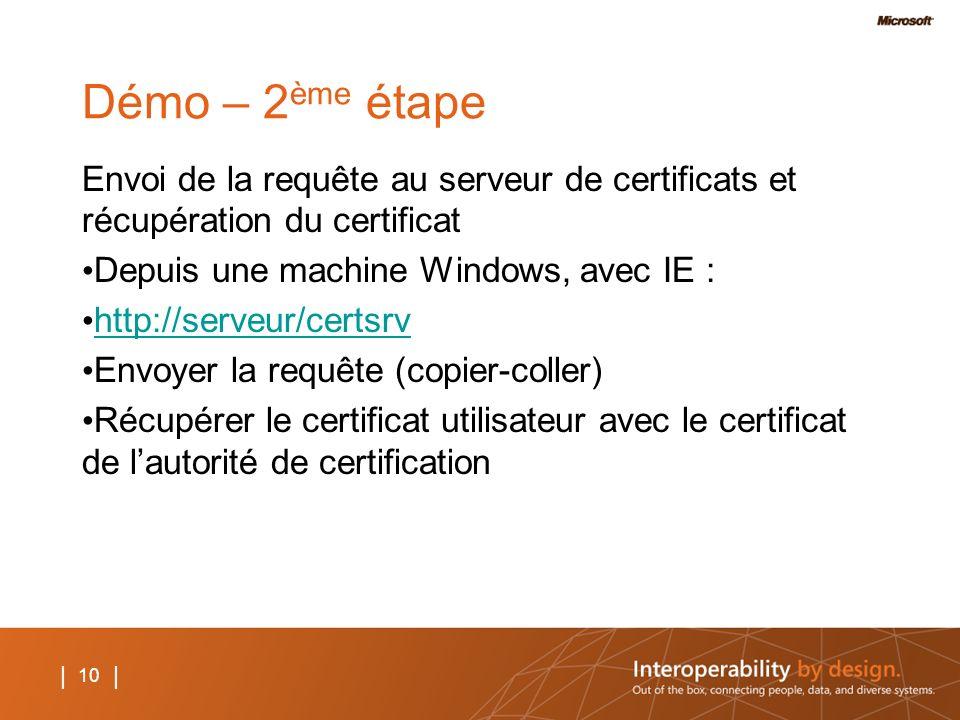 10 | Démo – 2 ème étape Envoi de la requête au serveur de certificats et récupération du certificat Depuis une machine Windows, avec IE : http://serve
